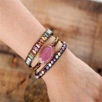 Link Bester Verkauf Leder eingewickelte Armband rot Stein natürliche Kristallperlen weben Kunst Schmuck Geschenke 458 Z2