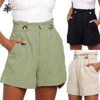 Damen Shorts Oriental Genießen Sie Frauen Schwarz Lose Hohe Taille Kurzer Femme Kleidung Sommer Baumwolle und Wäsche Wide-Bein Shorts