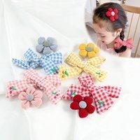Hair Accessories 1PC Plaid Bowknot Flower Pins Cute Children Girls Clip Embroidery Cherry Bow Cotton Headwear Barrette
