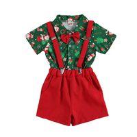 Christmas Boys Outfits Kids Clothing Sets Children Clothes Wear Gentleman Bow Tie Short Sleeve Shirt Top Pants 2Pcs B8471