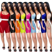 여성용 jumpsuits 여름 rompers 반바지 조끼 Tshirt 스포츠 요가 일시 중지 니트 Jumpsuit Plus 크기 XS / S / M / L / XL / 2XL / 3XL / 4XL / 5XL 핑크