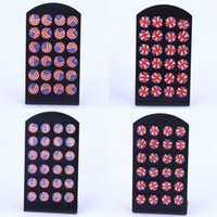 ISINEEE 12 Пары / установить мода UK USA США американский флаг серьги серьги наборы маленькие круглые эмаль серьги для женщин девочек детей x0709 x0710