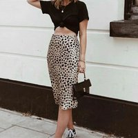 Women Silk Satin The Naomi Wild Things Leopard Print Sexy Elastic High Waist Easy 90's Slip Midi Skirt 210329