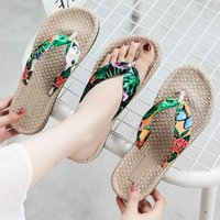 Slippers Low Casual Shoes Rubber Flip Flops Slipers Women Slides Luxury Flat Hawaiian 2021 Scandals PU Fabric Riband Cotton
