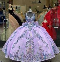 Gorgeous Lavender Quinceanera Abiti con manica staccabile Sequin Appliqued Vestidos de 15 ANOS Dolce 16 Ball Gown Prom Dress