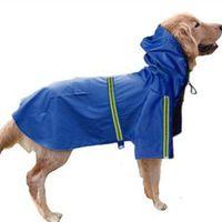 Dog Apparel Clothes Big Waterproof Poncho Pet Reflective Strip Raincoat Supplies
