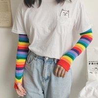 Five Fingers Gloves Women Girl Harajuku Elbow Length Fingerless Arm Sleeve Warmer Rainbow Colored Striped Knitted Sunscreen Halloween Energe