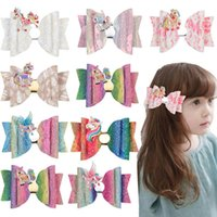 Girls Hair Accessories BB Clips Kids Barrettes Things Childrens Pu Leather Unicorn Bows Bowknot Rainbow Accessory B5235