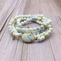 Tennis Fashion Woman Bangle Stone Beads Bracelet Elastic Mala Necklace Howlite Gold Color 6 Mm Bead For Her Gift