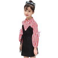 Abesay Outono vestidos de manga comprida para meninas listradas moda crianças adolescente inverno roupas 6 8 12 anos 210528