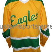 Herhangi bir isim numarası Tuz Gölü Golden Kartallar Retro Hokey Jersey Sarı Childs Tüm Nakış XS-6XL