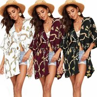Women Boho Vintage Bikini Beach Cover Up Floral Cardigan Summer Kimono Chiffon Shirt Beachwear Blouse Women's Swimwear