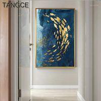 Абстрактные Золотые рыбы Китайский Холст Картина Большой Голубой Плакат Печать Роскошное Стеновое Искусство для гостиной прохождение Золотое tableaux picture1