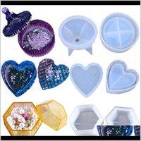 Herramientas de artesanía DIY Epoxy Resina Moldes Siiles Cristal Glue En forma de corazón Hexágono Raya Redonda 3 Piezas Caja de almacenamiento Traje de Molde 33 8QZ M2 QBQ