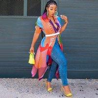 Vintage Africano Mujeres Casual Abrigo Casual Camisa Larga Vestido A Línea Color Block Botón Botón Occidental Oficina Occidental Lady 2021 Chaquetas De Mujeres