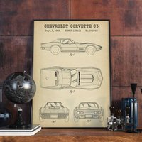 Paintings American Car Corvette C3 Blueprint Art Prints Gift For Racing Patent Boy Room Decor Wall Poster Canvas Painting