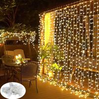 Strängar ledd gardin ljus 3x3m sträng ljus vatten vattenfall lampa bröllop rum dekor krans trädgård dekoration utomhus fe