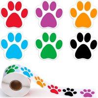 Kimter colorido pata de impresión pegatinas perro gato oso pata etiquetas etiqueta para computadora portátil recompensa etiqueta papelería profesor estudiante b255Z