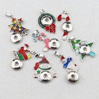 10styles 선택하십시오! 18mm DIY 금속 단추 스냅 펜던트 크리스마스 스타일 목걸이 크리스마스 선물 목걸이