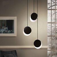 Pendant Lamps Creative Simplicity Lunar Eclipse Rotatable Design Hang-Light Diameter 18cm 28cm DIY Black White Round Ceiling Fixture F-PL180