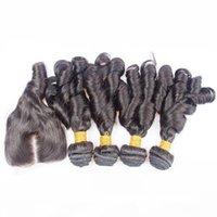 브라질 아누티 곰팡이 인간의 머리카락 4x4 레이스 폐쇄 5pcs 로트가있는 Brazilian Bouncy Curls 브라질 재미있는 머리카락 폐쇄 중간 부분