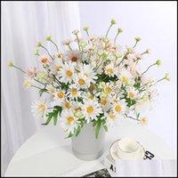 Fête de fête décorative Fournitures à domicile GardendaTorative Fleurs Couronnes 5 Tête Fleur artificielle Single Spring Chrysanthemum Pastorale Faux