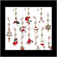 Bell Ringe DS8 Weihnachten Bauchnabel Ring Rote Frau Körper Piercing Schmuck Strasssteine Baum Nabelbar 14g Edelstahl LQLPC SGWRE