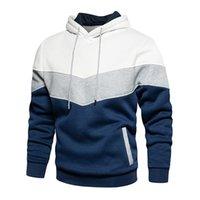 Men's Hoodies & Sweatshirts Patchwork Hooded Sweatshirt Clothing Casual Loose Fleece Warm Streetwear Male Fashion Autumn Winter Outwear