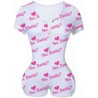 Femmes Combinaisons Oui Daddy Lettre imprimée Pinky One Piece Rompers Summer Short Slim Shorts Jumpsuits Baddie Body BodySuit en 4 couleurs