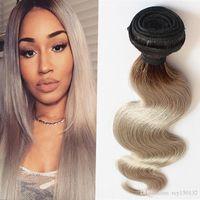 T1b / Grigio Ombre Gray Hair Weave Weave Body Head Capelli Bundles 100g 1pcs / lot Estensioni di capelli grigio argento, doppia disegnata, senza spargimento
