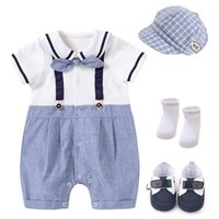 Baby Rompers Boys Bodysuits Newborn Clothes Summer Cotton Short Sleeve Infant Jumpsuit bow tie One Piece Clothing Hats Socks Shoes 4Pcs Sets Toddler Outfits B7189