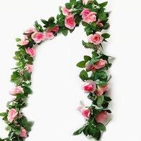 Декоративные цветы венки 4x искусственный шелк поддельных цветок гирлянды роза лозы 16heads плющ листва зеленые листья растений свадебный декор