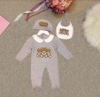 Новорожденные комбинезоны Baby Boy Girls 2 шт. Набор с крышным медведем Печатный комбинезон Один кусок oneyies Romper Newddle Детская Дизайнерская Одежда