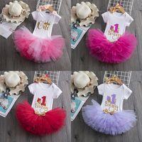 Baby Lettre Vêtements Ensembles filles Sequins Bow Bandeau Band + Lettre ROMPER + TUTU DACE JUPPES 3PCS / SET BOUTIQUE ENFANT BIDIAIRE PARTE DE VÊTEMENT M3555