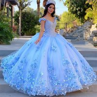 Off the Shoulder Ball Gown Quinceanera Dresses Lace 3D Floral Appliques Prom Gowns Floor Length Puffy Tulle Tiered Sweet 15 Masquerade Dress
