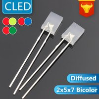Bulbs 1000PCS 2x5x7mm Square Led 2-PIN Bicolor DIP 257 RED&Blue RED&GREEN Nonpolar Transparent 5mm LED(CE&Rosh)