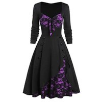 Women's Vintage Lace Patchwork Slim Swing Dress Hepburn Style Casual Retro Evening Party 1950s Dresses