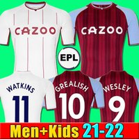 22 22 22 Maillot de Football Aston Villa 2021 2022 Inicio Wesley Grealish Kodja El Ghazi Chester Mcginn Targett Trezeguet Mings Mailihane Maillots de Foot Homme Enfants