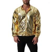 Homens de roupa de outono magro brilhante brilhante ouro reflexivo jaqueta moda manga longa casual casaco masculino casaco plus size streetwear1