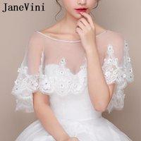 Wraps & Jackets JaneVini 2021 High Quality Bridal Lace Bolero Beaded Flowers Handmade Women Wedding Capes Shrug Mariage Party Accessories Su