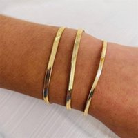 Link, Chain Snake Bracelet For Woman Stainless Steel Men Jewelry Gold Plated Flat Bracelets Bangles Waterproof Herringbone
