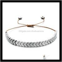 Charm Bracelets Jewelryzmzy Boho Vintage Mens Women Casual Hematite Arrows Bracelet Handmade Adjustable Rope Chain Wrist Unisex Jewelry1 Drop