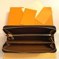 Atacado 20 cores moda Única zíper homens mulheres carteira de couro senhora senhoras longas bolsa com cartão de caixa laranja 60017