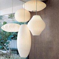 Pendant Lamps Japanese Silk Cloth Lights Nordic Bedroom Lamp Restaurant Hanging Dinning Room Suspension