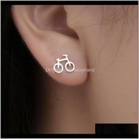 Creative Mini Bike Stud Metal Alloy Sier Plated Bicycle Earrings Women Travel Simple Ear Rings Accessory Jewelry Gifts Wufnt 8Zjju