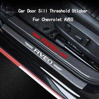 Car Door Sill Threshold Guard Sticker For Chevrolet AVEO Carbon Fiber Pattern Emblem Decal