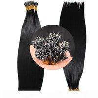 Elibesshaar -doppelte gezeichnete Nagelhaut ausgerichtetes reines Haar Nano Haarverlängerungen 1g Strand 100Strands Lot Jet Black Nano Ring Menschenhaare