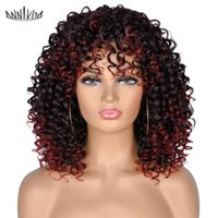 Synthetic Wigs Anniva Short Curly Afro With Bangs For White Black Women African Ombre Brown Blonde Natural Fiber Hair