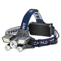 Lumière de lumière LED rouge / bleue / bleue / blanche L2 + 2 * T6 de phare USB Lumière rechargeable à la tête rechargeable avec avertissement de la queue imperméable1 1661 z2