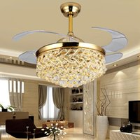 Invisible fan light living room modern minimalist  crystal chandelier bedroom with LED ceiling
